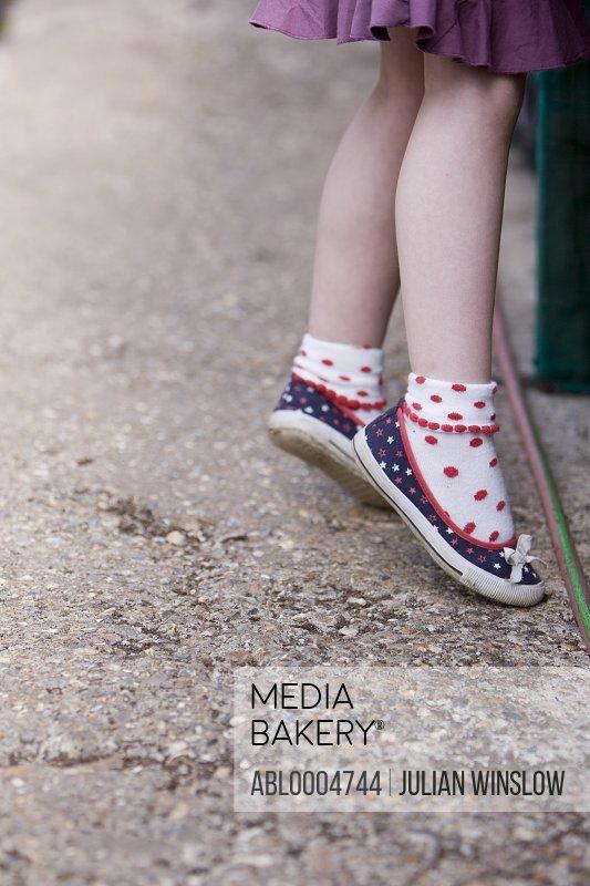 Close up of girl legs tiptoeing