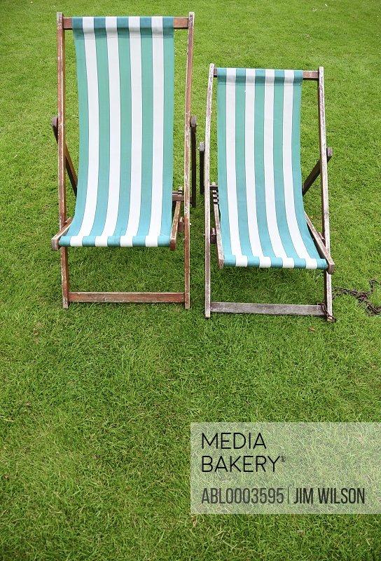 Stripy Deck Chairs in Park, London