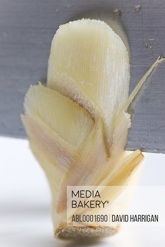 Blade slicing lemongrass