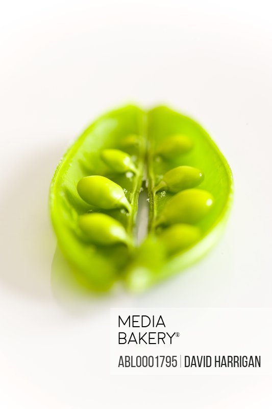 Close up of peas in a pod
