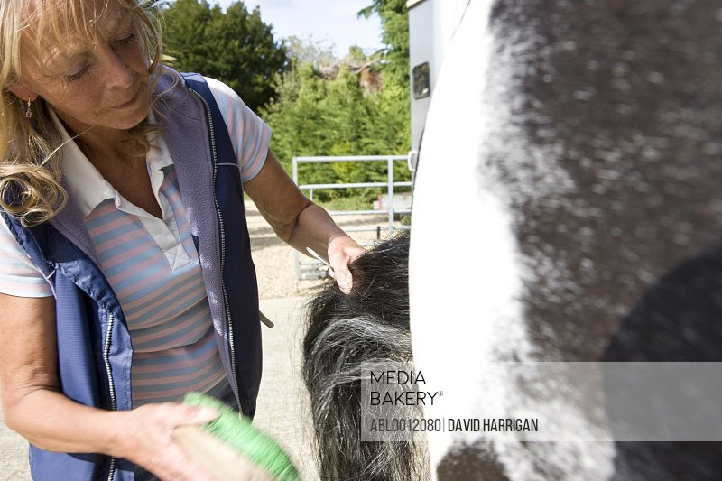 Mature woman brushing a horse tail