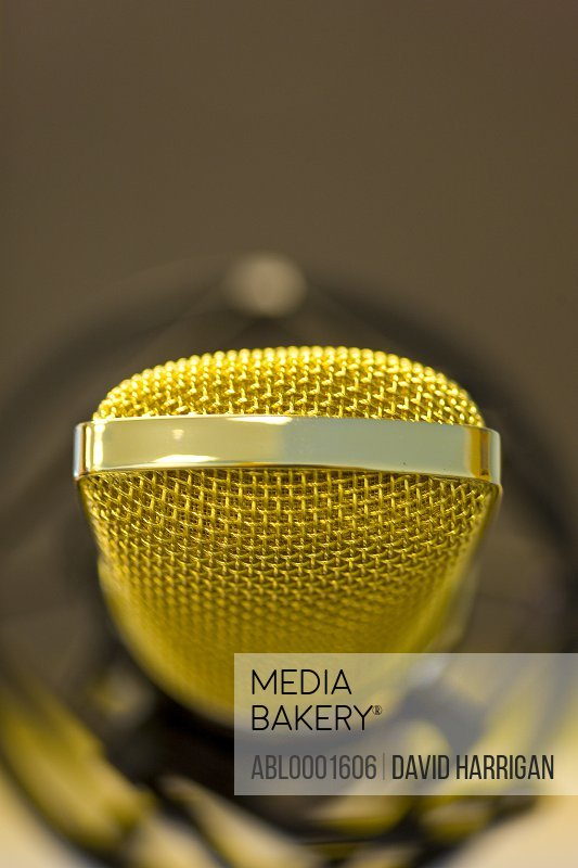 Extreme close up of a gold microphone