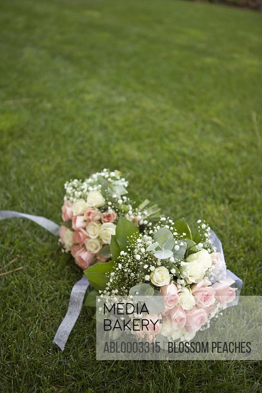 Bridal Bouquet of Roses Lying on Grass