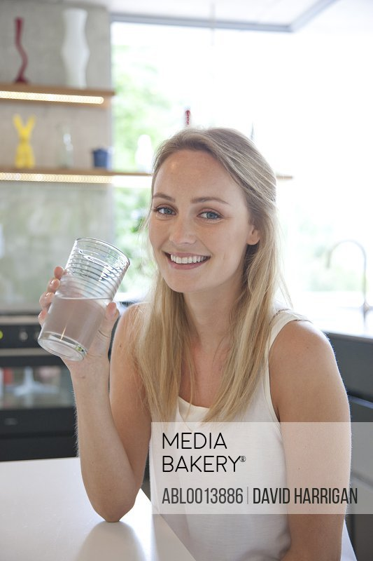 Woman Having a Glass of Water