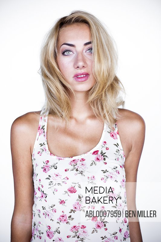 Woman in Floral Tank Top