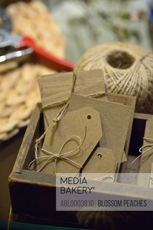 Brown Paper Gift Tags and Cards in Wooden Box