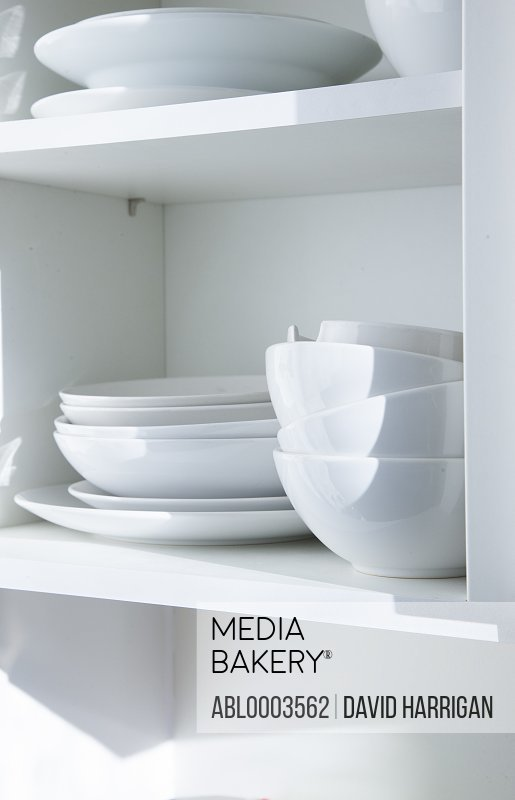 Cupboard with Plates and Bowls