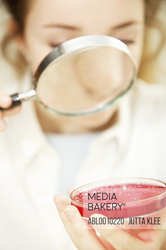 Schoolgirl Examining Cell Culture in Petri Dish with Magnifying Glass