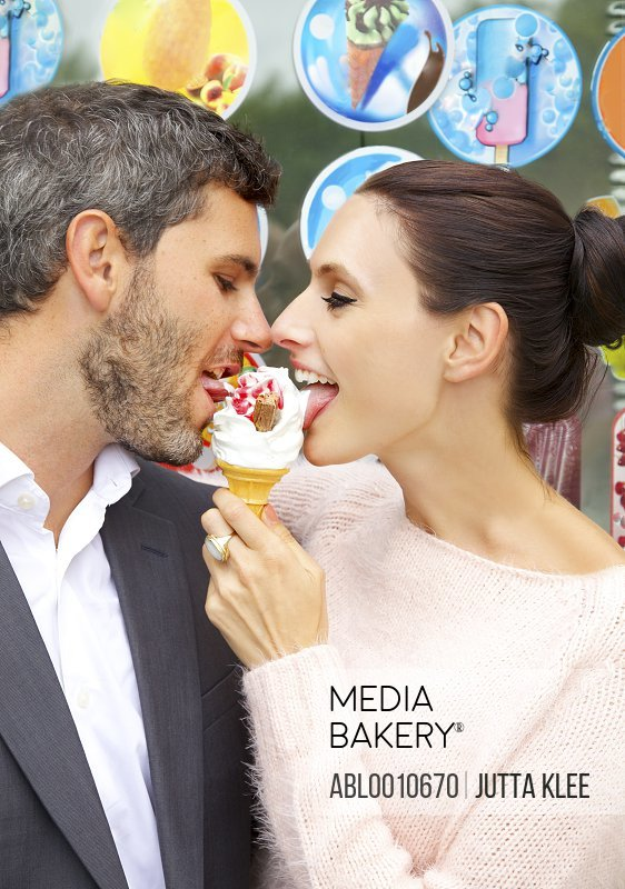 Couple Sharing Ice-cream, Close-up view