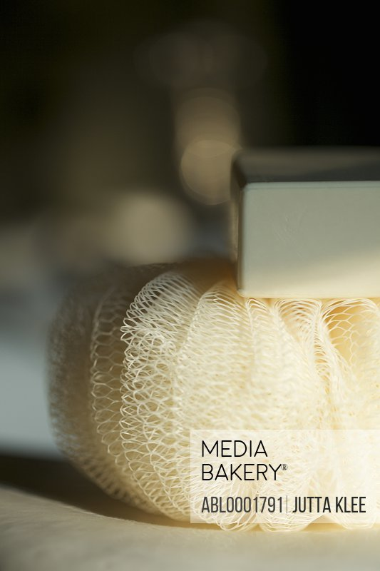 Close up of an exfoliating puff sponge and soap bar
