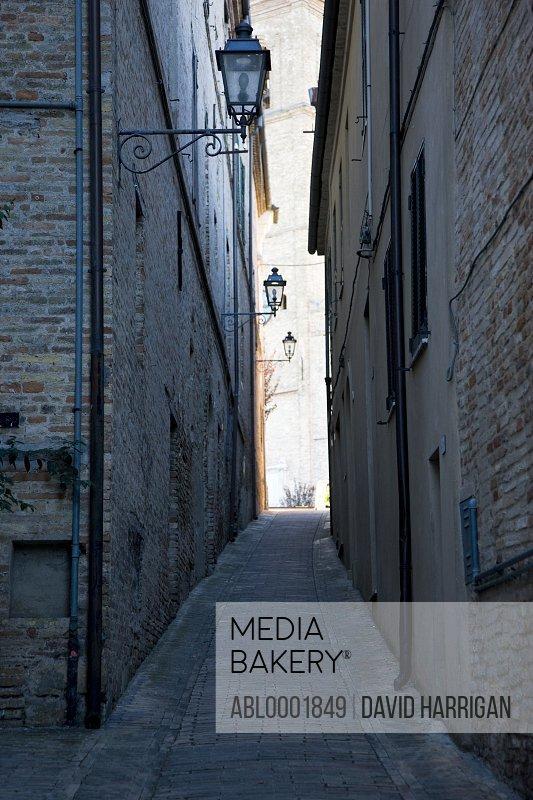 Cobblestone street in Potenza Picena - Italy