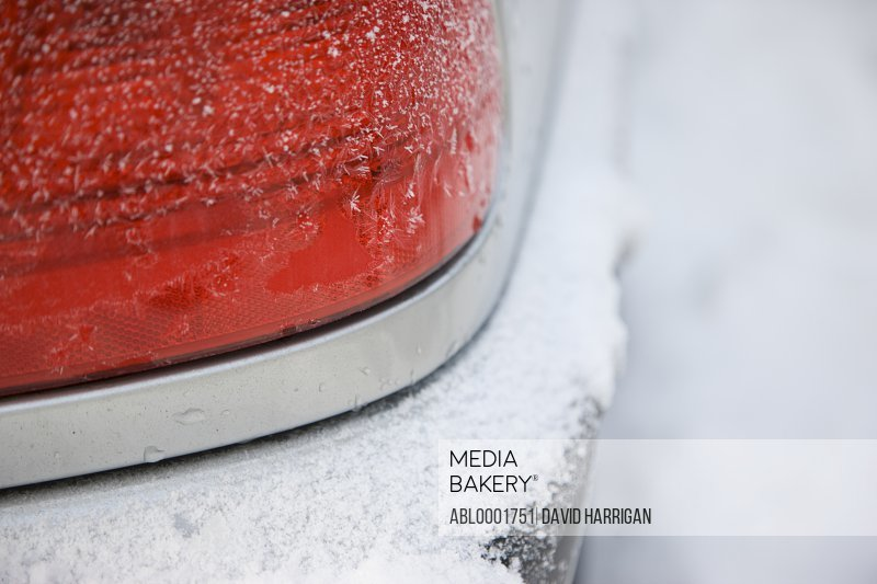 Taillight covered in snow