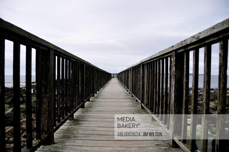 Wooden Boardwalk on Beach