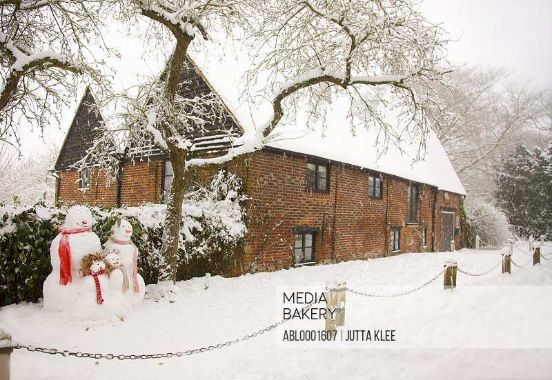 Snowman's family standing under a tree next to red brick house