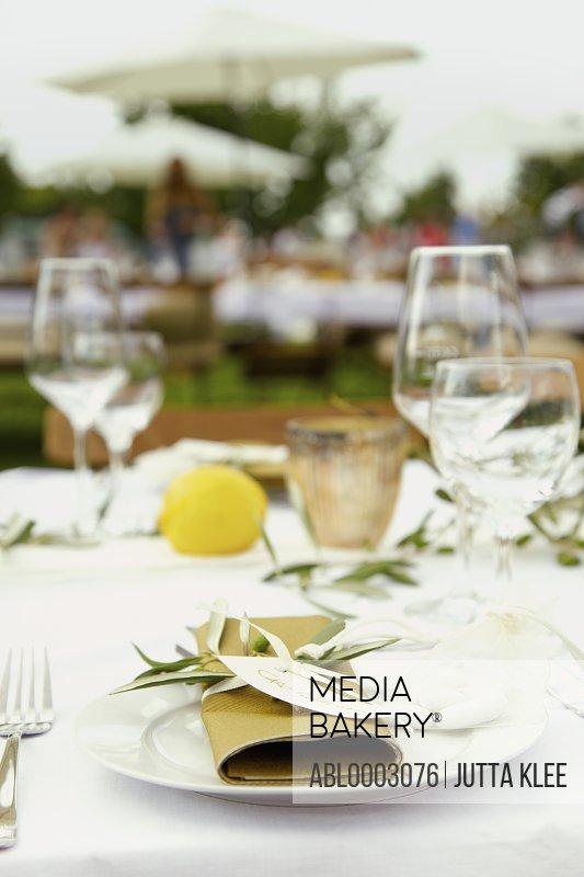 Wedding Table Setting with Jordan Almonds