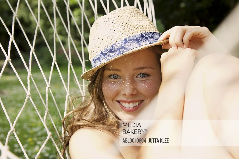 Young Woman in Hammock Outdoors
