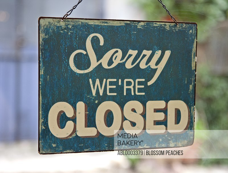 Vintage Sign 'Sorry We're Closed'