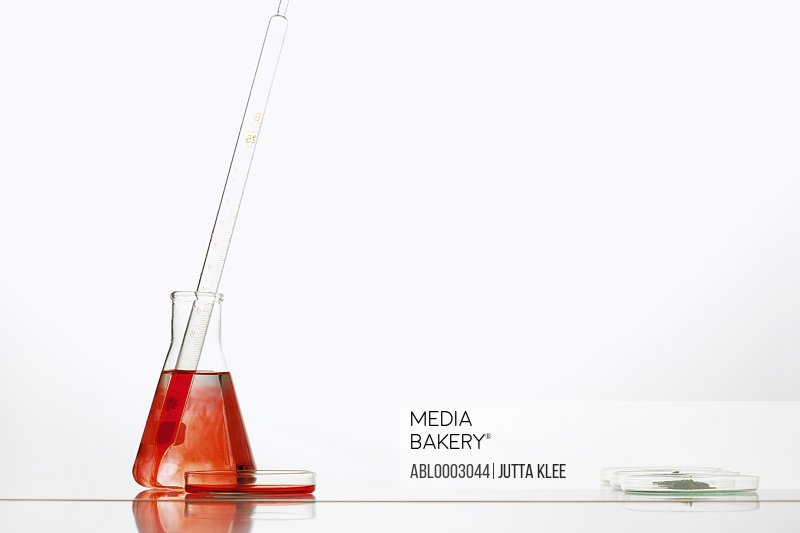 Erlenmeyer flask with Red Solution, Pipette and Petri Dishes