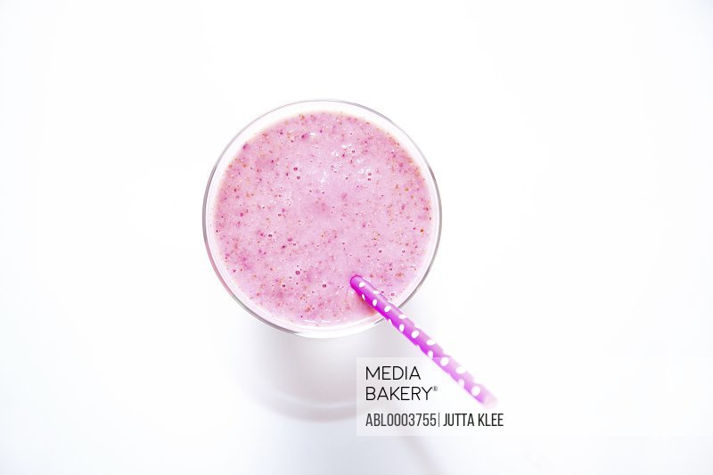 Strawberry Smoothie with Drinking Straw, Elevated View