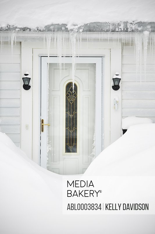 Door with Snow and Icicles