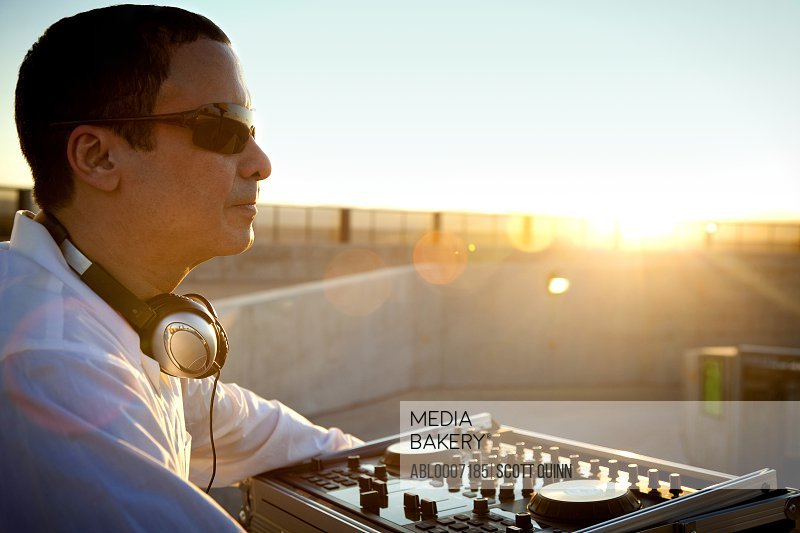 Man DJing at Sunrise