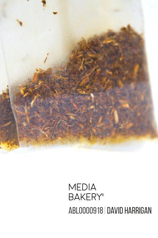 Close up of a wet bag of black tea