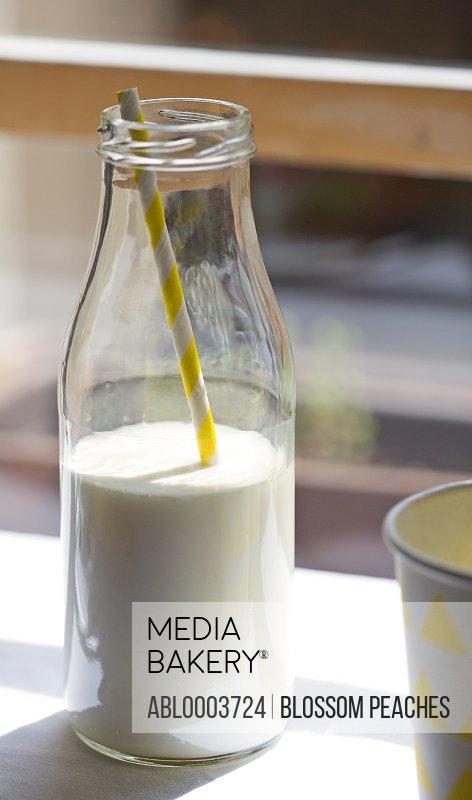Milk Bottle with Drinking Straw