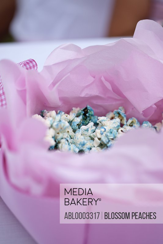 Pink Gift Box with Blue Popcorn