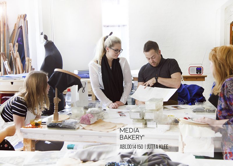 Design Professionals Working at Embroidery Studio
