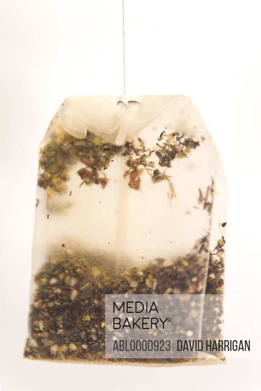 Close up of a wet bag of green tea