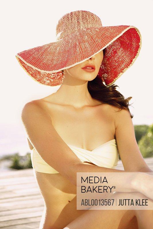 Woman Wearing Wide Brim Hat
