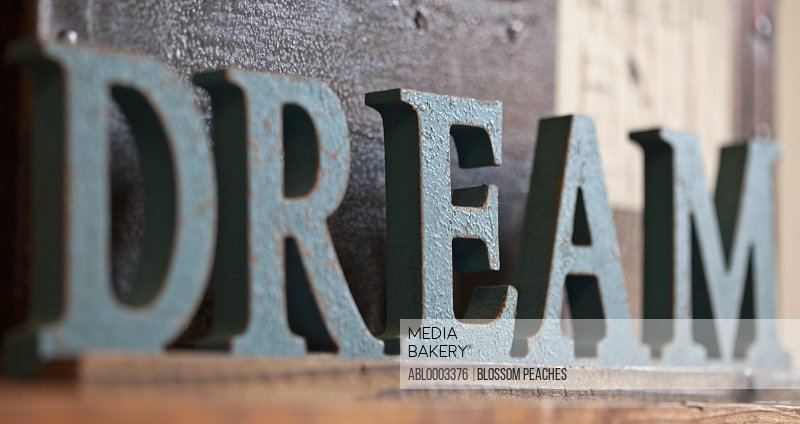 Word Dream in Wood Lettering, Close-up View