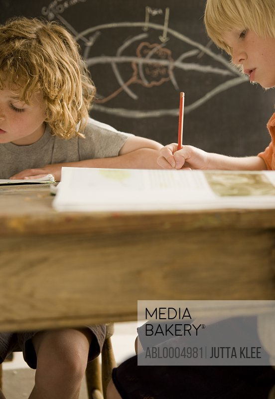 Two young boys writing and sitting at desk in the classroom