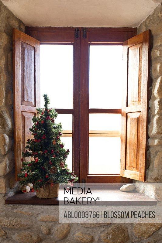 Christmas Tree on Wooden Window Sill