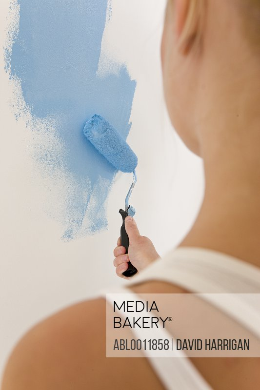 Back view of woman holding paint brush and painting a white wall with blue paint
