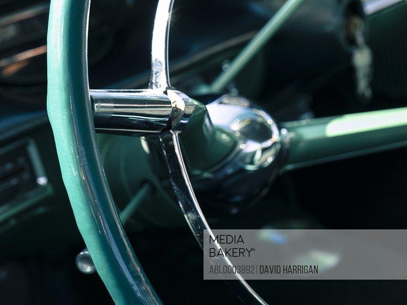 Detail of Vintage Car Steering Wheel
