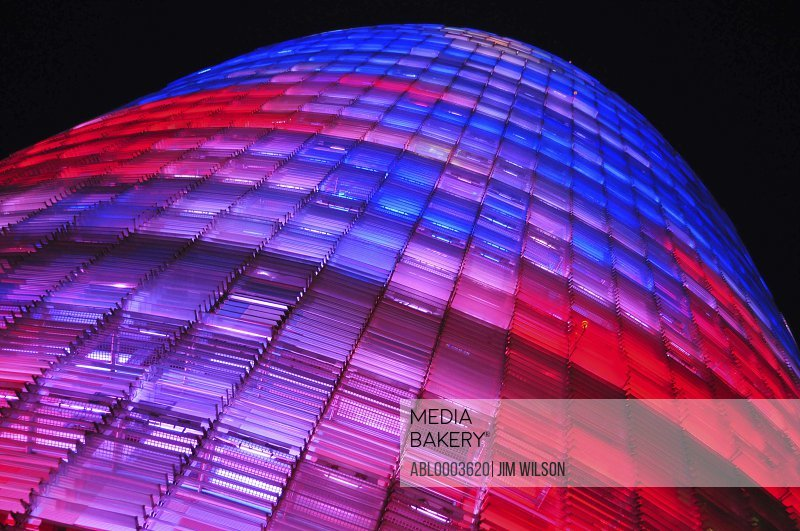 Low Angle View of Torre Agbar at Night, Barcelona, Spain