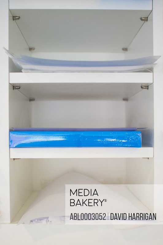 White Shelf Unit with Files and Paperwork
