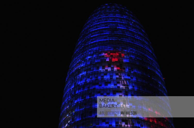 Torre Agbar at Night, Barcelona, Spain