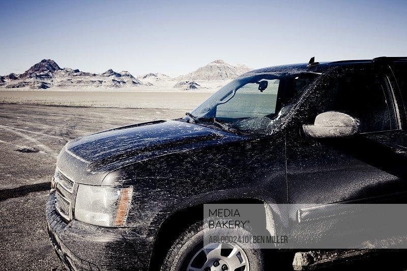 Dirty 4x4 Car Parked on the Bonneville Salt Flats
