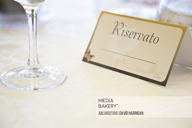 Reserved Sign at Italian Restaurant