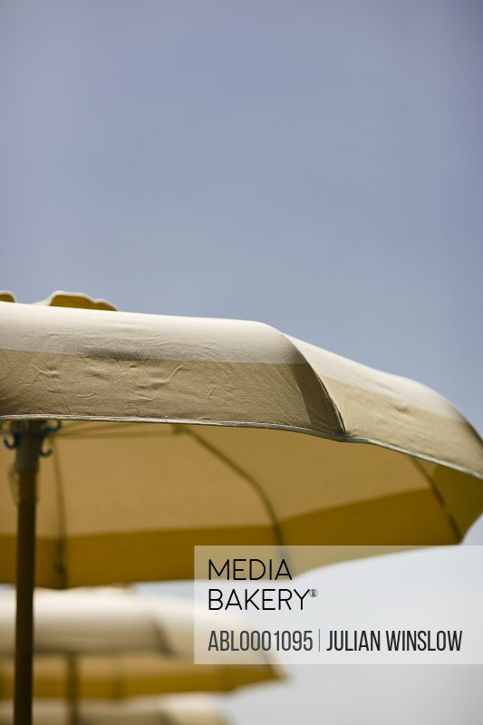 Close up of open parasols