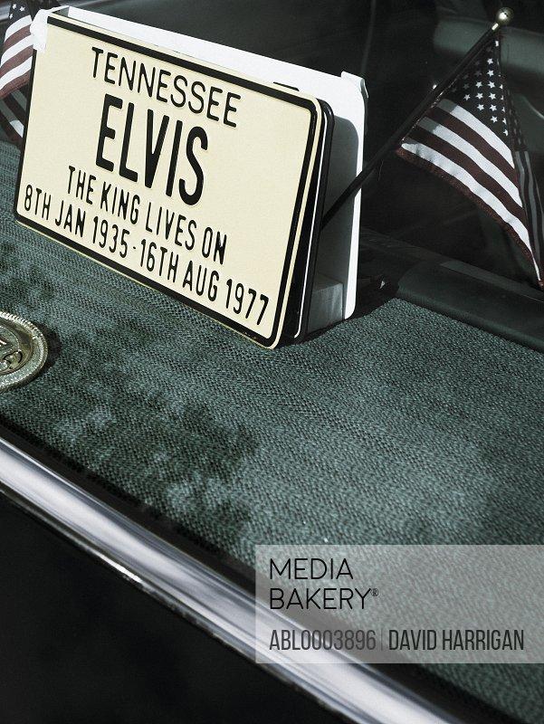 Elvis License Plate on Vintage Car