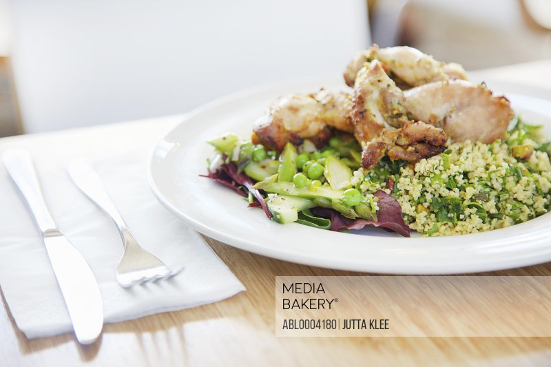Thyme Roast Chicken with Quinoa Salad Asparagus and Peas
