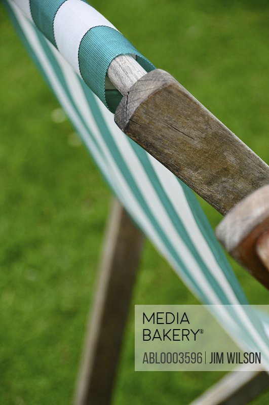 Detail of Stripy Deck Chair in Park, London