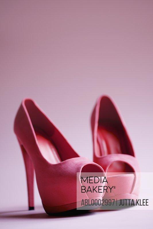 Pink Suede Open Toe Platform Shoes