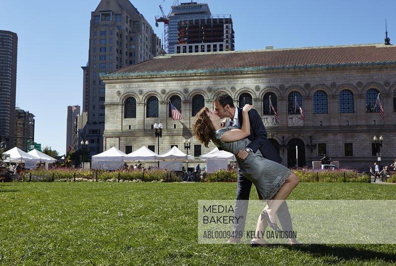 Couple Kissing in Copley Square, Boston, USA