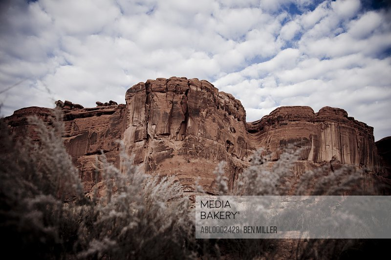 Sandstone Formations and Cloudy Sky