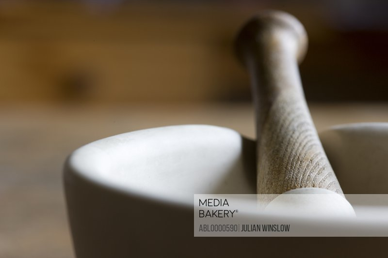 Close up of mortar and pestle