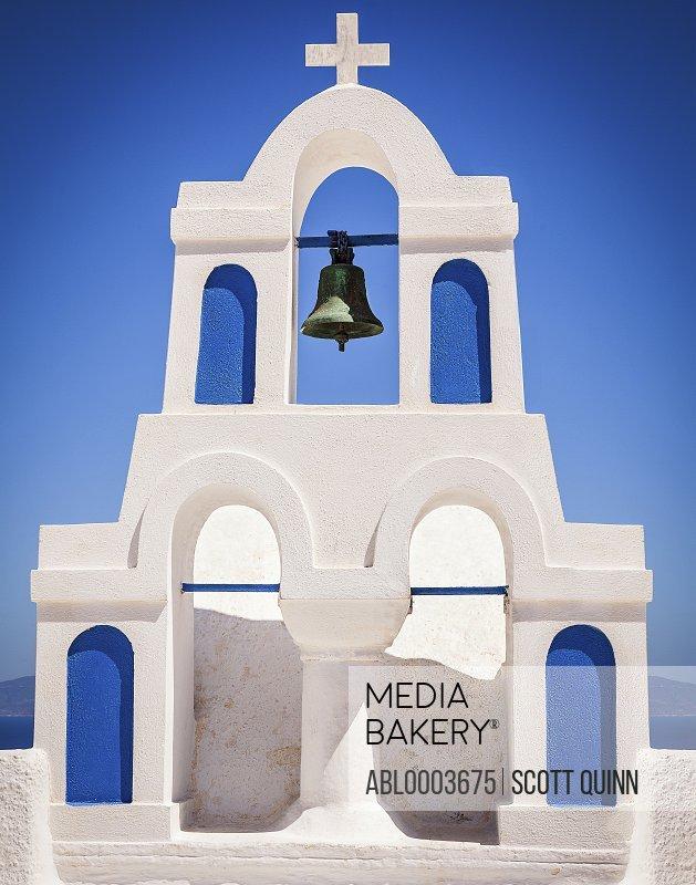 Facade of White Painted Chapel, Santorini, Greece